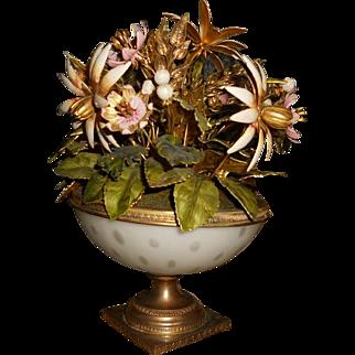 Jane Hutcheson Fleurs des Siècles Floral Centerpiece in White Opaline Vase