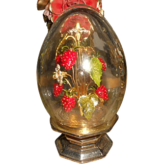 Jane Hutcheson Enameled Strawberries with Jewels Crystal Egg