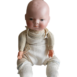 Antique Bisque Baby with Celluloid Hands and Cloth 'Frog' Body