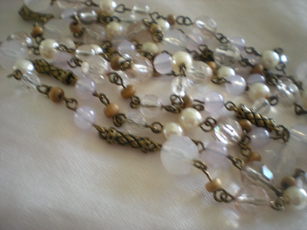 Art Deco Early Resin Opaline and Beaded Long Length Necklace