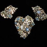Robert's Original Vintage Crystal & Blue Opaline Demi Parure
