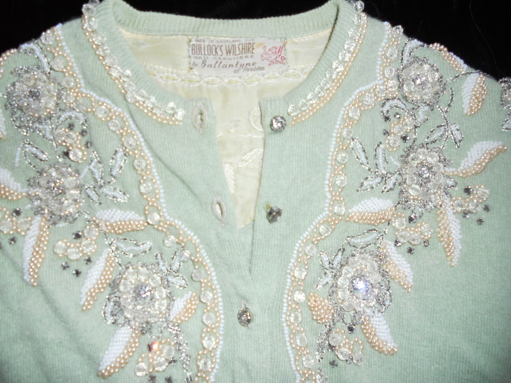 Gorgeous Vintage Ballantyne 1950s Light Green Cashmere Beaded Sweater
