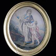 "Georgian Allegorical Painting ""Wisdom"" in Original Gilt Frame"