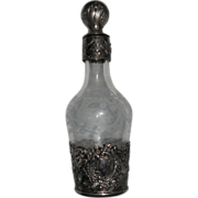 Antique English Silver and Etched Crystal cherub perfume bottle