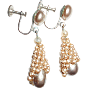 Art Deco French Looking Faux Pearl Drop Earrings
