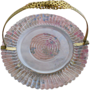 Sweet Vintage Ormolu Fold Down Handle Serving Plate