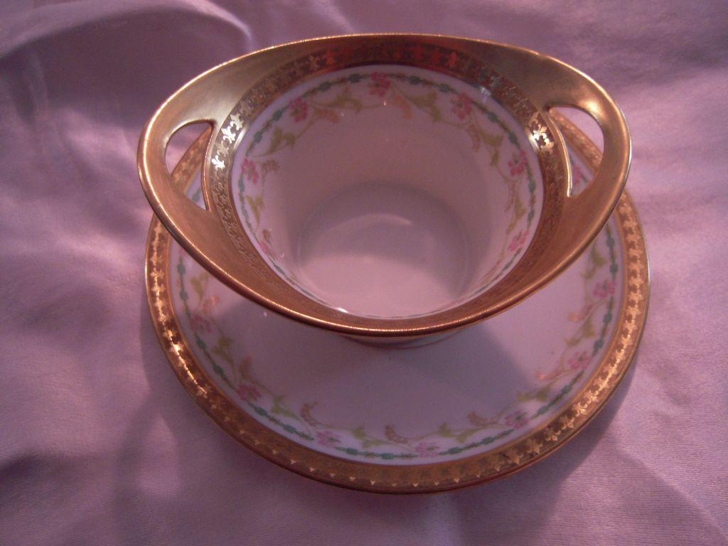 Rare Antique Limoges Small Condiment Dish with Tray - Gold Fleur de Lis Rim