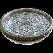 Vintage Sterling Cut Crystal Bowl, c 1946
