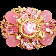Vintage Pink Poured Glass Filigree Brooch