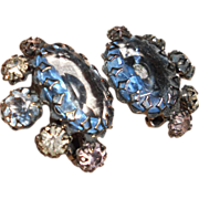 Rare Countess CIS Gorgeous Faceted Blue and Crystal Earrings