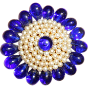 Early Louis Rousselet Blue Poured Glass Brooch