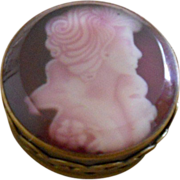 Unusual Victorian Lady Beveled Glass Sulphide Paperweight Brass Box - Red Tag Sale Item