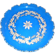 Stunning Antique French Blue Opaline Enamel Large Scalloped Tray - Red Tag Sale Item