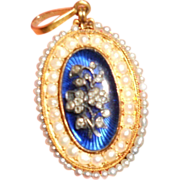 Georgian Blue Bristol Glass, Diamond and Gold Giardinetti Pendant