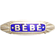 Art Deco Blue Enamel BeBe Pin