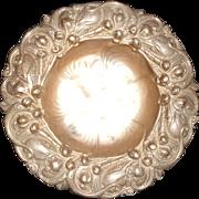 Art Nouveau Lilac Design Repousse Sterling Silver Bon Bon Dish