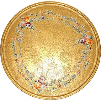 Gorgeous Vintage Thick Enamel Rose Painted Glass Plate