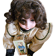 Antique Chestnut Brown Curly Doll Wig