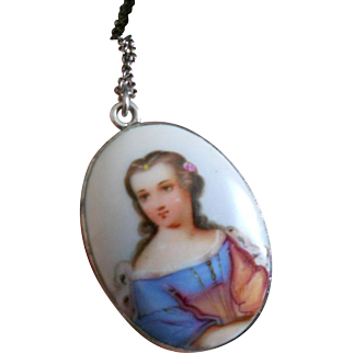 Antique Enamel Porcelain Miniature in 800 Silver with Sterling Chain
