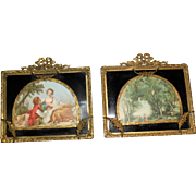 Antique Pair of French Bow Garland Swags Frames, black Eglomise set with French Prints