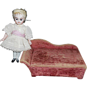 Antique Velvet Doll Chaise Lounge and Box