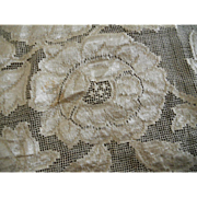 Early 1900s Silk Floss Embroidered on net Lace Table Runner