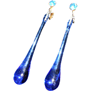 Art Deco Long Blue Crystal Drop Earrings