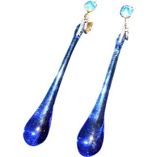 Art Deco Long Blue Crystal Drop Earrings