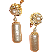 Miriam Haskell Long Faux Glass Pearl Earrings