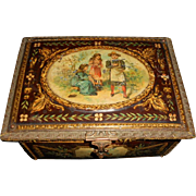 Antique French Small Children Motif Tin on Wood Lithograph Box