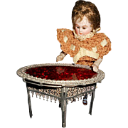 Antique German Dollhouse Fancy Soft metal and Ruby Glass Table