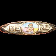 Art Deco Tiny Enamel Cherub painting on European Silver Bebe pin