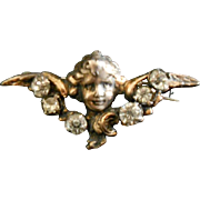 Victorian Paste Silver Angel Pin