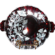 Vintage 'All Occasion' Sterling Overlay Ruby Glass Platter