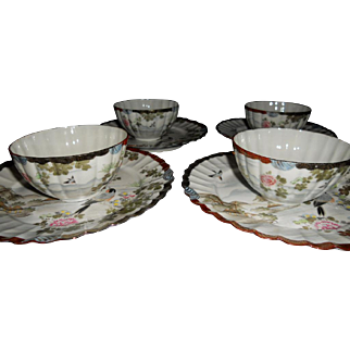 Exceptionally Fine Translucent Porcelain Imari Hand Painted Plates with Cups - Set of 4