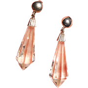 Art Deco Briolette Spears Crystal and Sterling Earrings