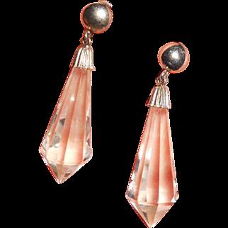 Art Deco Briolette Spears Crystal and Sterling Earrings