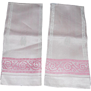 Lovely Unused Art Deco Monogrammed Pink Dasmask Linen Towels - 2