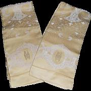 Lovely Unused Art Deco Monogrammed Golden Dasmask Linen Towels - 2