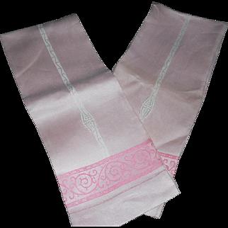 Lovely Unused Art Deco Monogrammed Pink Dasmask Linen Towels - 2