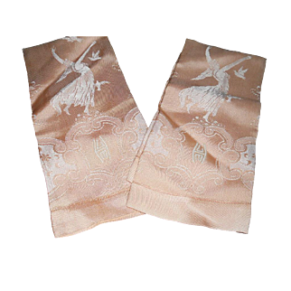 Lovely Unused Art Deco Monogrammed 'Goddess' Design Dasmask Linen Towels - 2