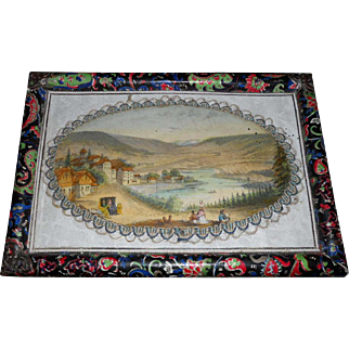 Antique French Lithograph Box with Dresden Trim