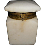 Antique Alabaster Hinged Box - Unusual Lid