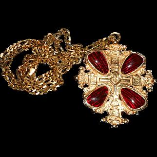 Vintage Accessocraft Gripoix GP Cross Pendant with Vermeil Chain