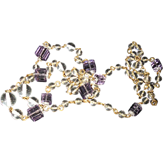 Art Deco Drilled Crystal Orbs and Purple Cube Necklace