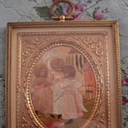 Charming Georgian Antique Silkwork Embroidery of Three Little Girls