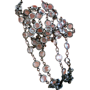 """1920's Open Back Crystal Paste and Silver plate Single Strand Necklace - 38"""""""