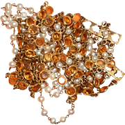 Vintage Amber Open Back Crystal and Faux Pearl Necklace