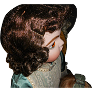 Antique Brunette Doll Wig - Large Size