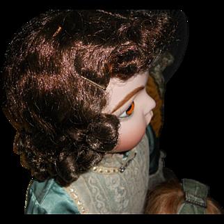 Antique Brunette Doll Wig - Large Size